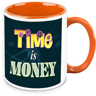 Homesogood Time Is Money Office Quote White Ceramic Coffee Mug - 325 Ml