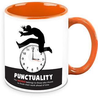 Homesogood Punctuality Key To Success Office Quote White Ceramic Coffee Mug - 325 Ml