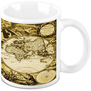 Homesogood An Antique World Map White Ceramic Coffee Mug - 325 Ml