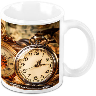 Homesogood Antique Shining Clock White Ceramic Coffee Mug - 325 Ml