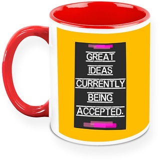 Homesogood Ideas Being Accepted Office Quote White Ceramic Coffee Mug - 325 Ml