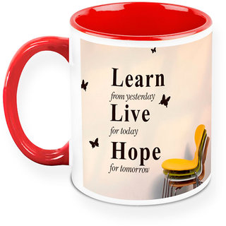 Homesogood Learn From Yesterday Apply Today Office Quote White Ceramic Coffee Mug - 325 Ml