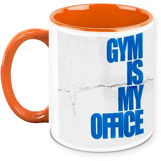 Homesogood Gym Is Where I Work Office Quote White Ceramic Coffee Mug - 325 Ml