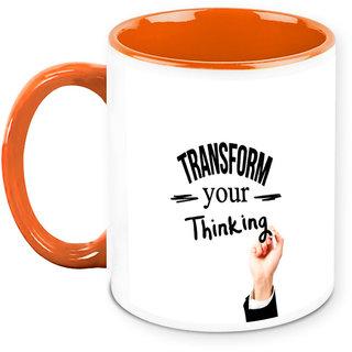 Homesogood Transform Your Thinking Office Quote White Ceramic Coffee Mug - 325 Ml