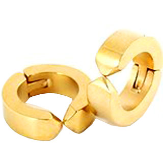 Men Style Gold  Non-Pireced 316L Clip On  Hoop Earring  for Men 8mm thickess