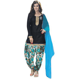 DesiButiks Womens Lavishing Black Coloured American Crepe Suit SSH1001