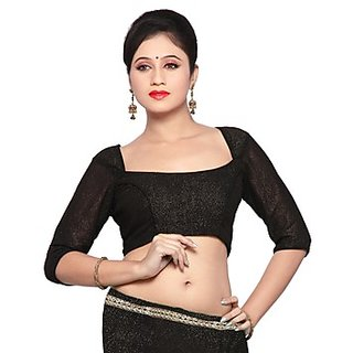 289b3be7cc520 Readymade Saree Blouse Black Stretchable Sari Choli Top Womens Lycra Fits S  M L