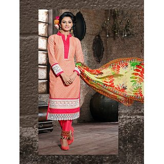 FABLIVA PEACH, PINK  OFF WHITE EMBROIDERED COTTON STRAIGHT SUIT