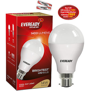 Eveready 14W Led Bulb 6500K Cool Day Light with free 2 Eveready battery