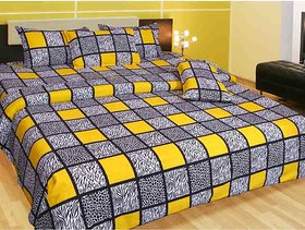 Geo Nature multi Poly-Cotton Double Bed sheet with 2 pillow cover (GBS010)