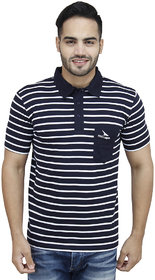 PRO Lapes Navy Blue Striped Half Sleeve Polo T-Shirt
