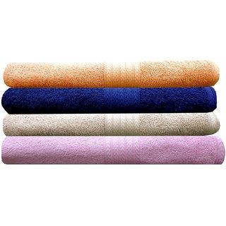 India Furnish 100 Cotton Soft Premium Bath Towels 450 GSM,Set of 4 Pcs ,Size 75 cm x 150 cm- Biscuit,Peach,Navy Blue  Baby Pink  Color