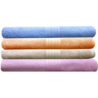 India Furnish 100 Cotton Soft Premium Bath Towels 450 GSM,Set of 4 Pcs ,Size 60 cm x 120 cm- Sky Blue,Peach,Biscuit  Baby Pink  Color