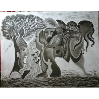 Charcoal Skatch Painting
