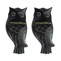 Prakrita Handicraft Owl Shaped Sindoor Box Made Of Buffalo Horn (Pack Of 2)