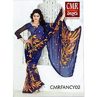 buy lali silk catalog saree party wear royal blue gold yellow