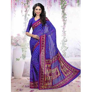 Thankar online trading Blue Georgette Printed Saree With Blouse