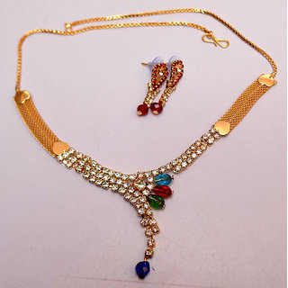Beautiful White Stone Work Kundhan Drop Necklace With Earrings