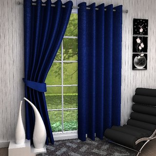 Thiwas Plain Blue Eyelet Door Curtains Set of 2