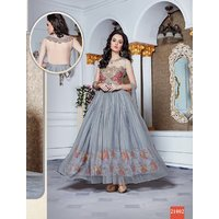 Thankar Latest Designer Heavy Grey Partywear Gown