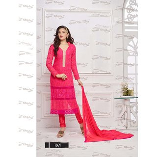Thankar Pink Embroidered Chiffon Straight Suit