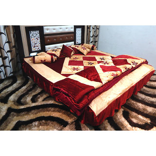 Peponi Maroon Wedding Bedding Set 8 Pcs (Quilt, Double Bed Sheet, 2 Pillow Cover