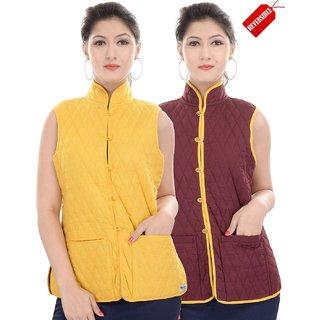 Jaipur Kurti Reversible Pure Cotton Yellow And Maroon