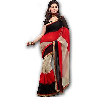 Fabdeal Multi Color Casual Wear Faux Georgette Classic Printed Saree