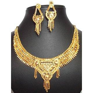 Designer Wedding Filigree Cut Work Gold Tone Necklace Earring Set S2