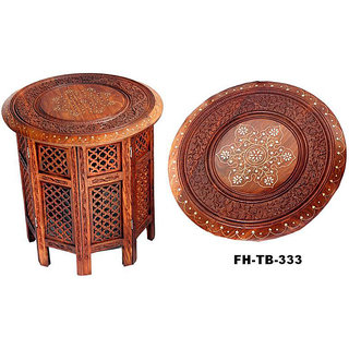 Wooden Sheesham Foldable Table with brass inlay work