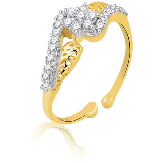 Jewelscart.In Adjustable Diamonds Gold Plated Finger Ring JC01000757