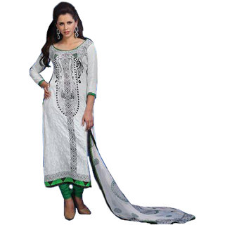 MAC White Glace Cotton Satin Printed Unstitched Salwar Suit