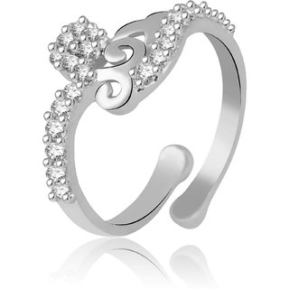 Jewelscart.In Adjustable Diamonds Silver Plated Finger Ring JC01000760