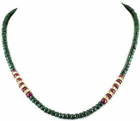 Avaatar Emerald Gemstone With Ruby Beads Green, Red  Stone Necklace