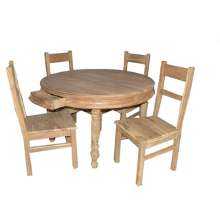 Buy teak wood round 4 seater dining table set Online - Get 11% Off 954862a01