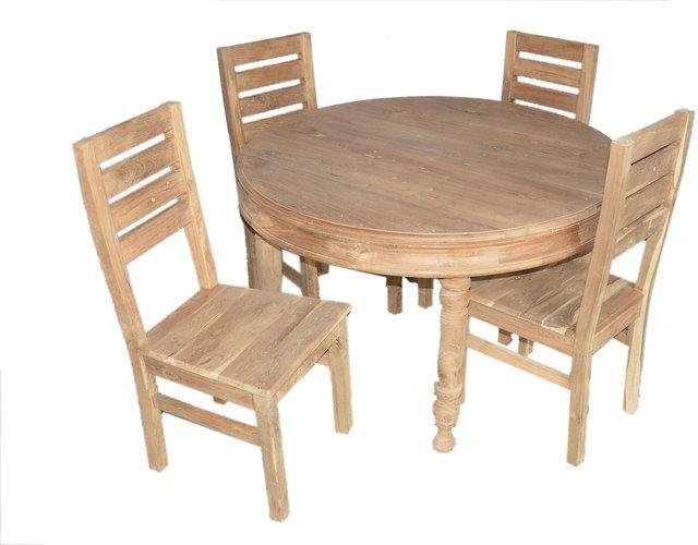 Teak Wood Round 4 Seater Dining