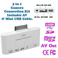Gadget Hero's New 5 In 1 Camera Connection Kit For Apple IPad, Includes AV & Mini USB Cable.