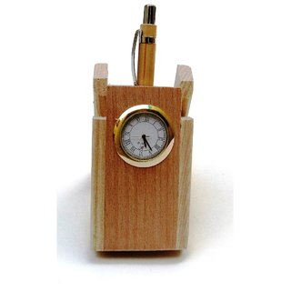 Wooden Pen Stand With Watch For Office Table Gift Item