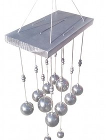 silver10bell wooden and metal wind chime for positive energy attraction