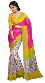 Sunsilk Pink  Grey Silk Printed Saree With Blouse
