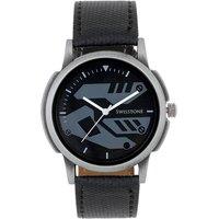 Swisstone Black Leather Strap Analog Watch For Men/Boys- ST-GR008-BLK-BLK