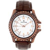 Swisstone Brown Leather Strap Analog Watch For Men/Boys- ST-GR010-WHT-BRW