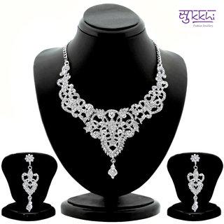 Sukkhi Youthful Rhodium plated AD Stone Studded Necklace Set
