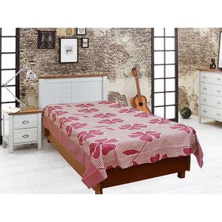 Akash Ganga Red Cotton Single Diwan Bedsheet (Diwan10)