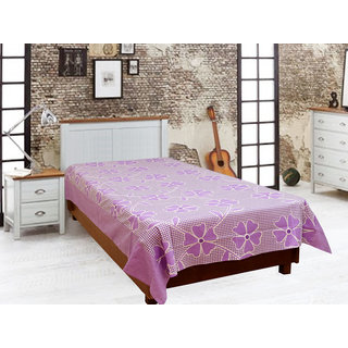Akash Ganga Purple Cotton Single Diwan Bedsheet (Diwan7)