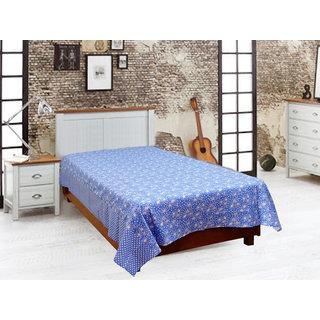 Akash Ganga Blue Cotton Single Diwan Bedsheet (Diwan8)