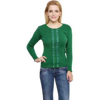 130ab0f5721 Buy RENKA Green Color flowers long Sleeves Winter Pullover Sweater for  Women Online - Get 24% Off