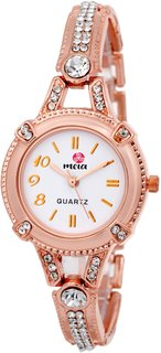 Meia Round Dial Rose Gold Metal Strap Analog Watch For Women