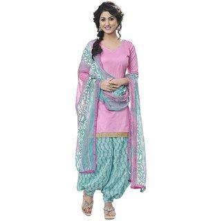 Cotton Patiyala Unstitched Dress Material(Baby Pink)