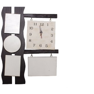 Selfie brown color  photo wooden wall clock